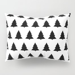 Chistmas Tree Black and White Seamless Pattern Pillow Sham