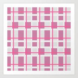 Retro Pink Plaid Pattern Art Print