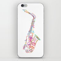 saxophone iPhone & iPod Skins featuring Stylized  saxophone by Rceeh