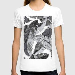 BANANA PALM LEAF PARADISE BLACK AND WHITE PATTERN T-shirt