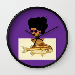 Postcard Fashion in Purple Wall Clock