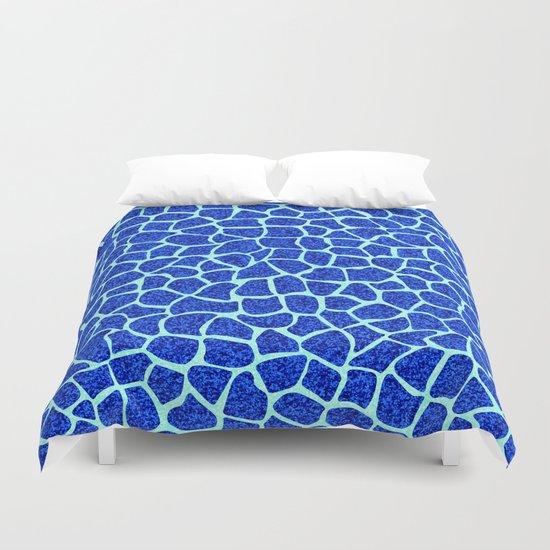 Blue Glitter Giraffe Print Duvet Cover