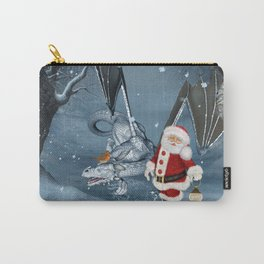 Santa Claus with ice dragon in a winter landscape Carry-All Pouch
