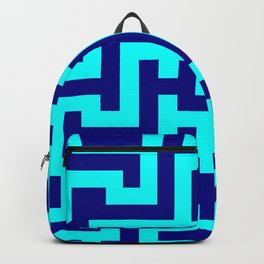 Cyan and Navy Blue Labyrinth Backpack