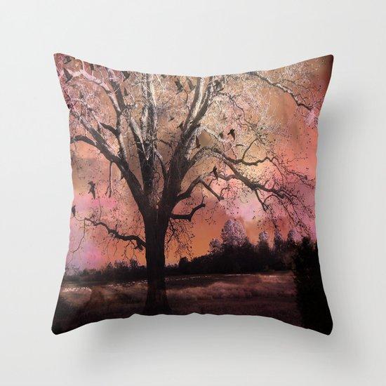 Surreal Trees Ravens Landscape  Throw Pillow