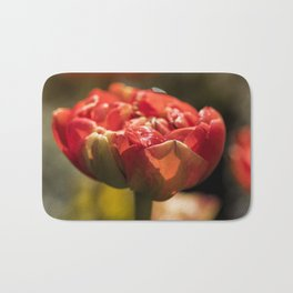 Fire Red tulips at Backlight Bath Mat
