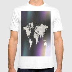 Newsprint World Map Mens Fitted Tee MEDIUM White