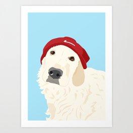 Golden Retriever wearing a beanie hat Art Print