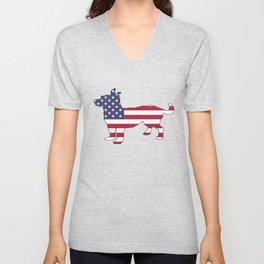 """Chihuahua """"American Flag"""" Unisex V-Neck"""