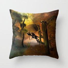 Funny little dinosaur Throw Pillow