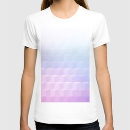 Pastel Cube Pattern Ombre 1 - pink, blue and vi T-shirt