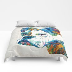 Colorful English Bulldog Art By Sharon Cummings Comforters