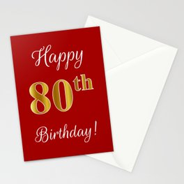 """Elegant """"Happy 80th Birthday!"""" With Faux/Imitation Gold-Inspired Color Pattern Number (on Red) Stationery Cards"""