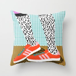 Spiffy - shoes art print memphis design style modern colorful california socal los angeles brooklyn  Throw Pillow