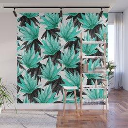 Modern Black and Teal Watercolor Tropical Leaves Wall Mural