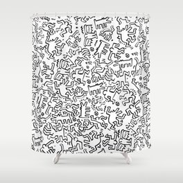 Figures Keith Haring White Shower Curtain