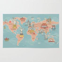 World Map Cartoon Style Rug