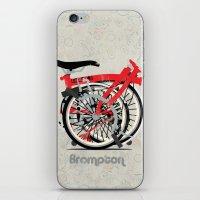 brompton iPhone & iPod Skins featuring Brompton Bike by Wyatt Design