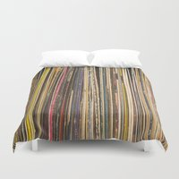 records Duvet Covers featuring Records by Cassia Beck