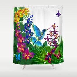 Tropical Hummingbird Pattern 1 Shower Curtain