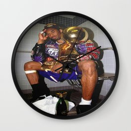 Kobe#Bryant Celebration with Trophies in Bathroom Canvas Wall Art, Basketball Canvas Frame  Wall Clock