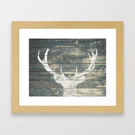 Rustic White Deer Silhouette Teal Wood A311 Framed Art Print