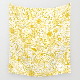 Yellow Floral Doodles Wall Tapestry
