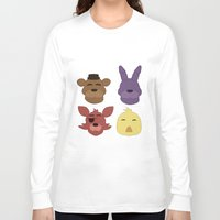 fnaf Long Sleeve T-shirts featuring The FNAF Gang by AjaSama