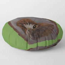 Red Tailed Hawk on Green Floor Pillow