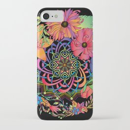 Neon Mandala and Flowers iPhone Case