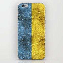 Vintage Aged and Scratched Ukrainian Flag iPhone Skin
