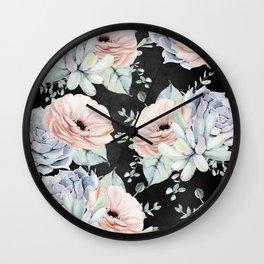 Night Succulents Wall Clock