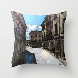 Calle Mayor (color) Throw Pillow