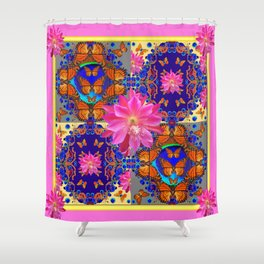 Exotic Fantastic Pink Four Panel Butterflies Tropical Floral Art Shower Curtain