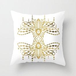 Death's Head Hawkmoth – Gold Palette Throw Pillow