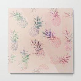 Soft Pastel Pineapple Summe Pattern Metal Print