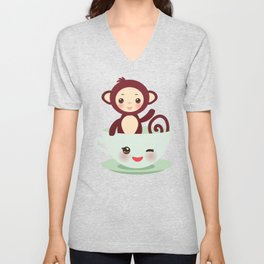 Cute Kawai pink cup with brown monkey Unisex V-Neck
