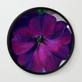 Purple Petunias Sill Life Floral Painting by Georgia O'Keeffe Wall Clock
