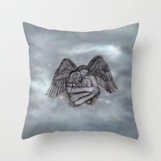 Eros , Amor - Angel and Woman in Love Throw Pillow