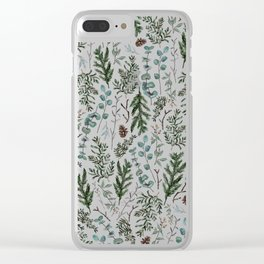 Pine and Eucalyptus Greenery Clear iPhone Case