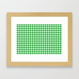 Gingham Green and White Pattern Framed Art Print