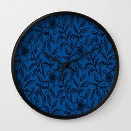 Vintage Lace Floral Lapis Blue Wall Clock