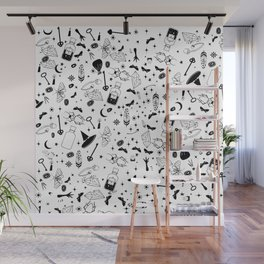Hadnd painted magic symbols Wall Mural