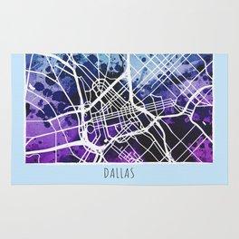 Dallas City Map / Blue Rug