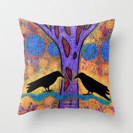 Two Ravens Sit & Reflect on Life Throw Pillow