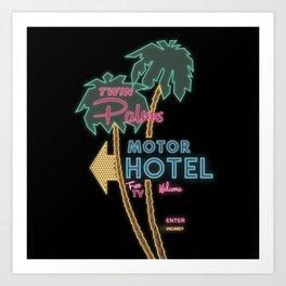Twin Palms Retro Neon Sign Art Print