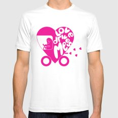 Love Drives Me White Mens Fitted Tee MEDIUM