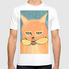 Orange Cat White MEDIUM Mens Fitted Tee