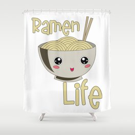 Kawaii Ramen Life Japanese Noodle Bowl Lover Shower Curtain