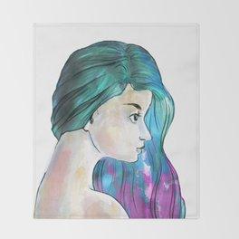 Watercolor Sea Portrait Throw Blanket